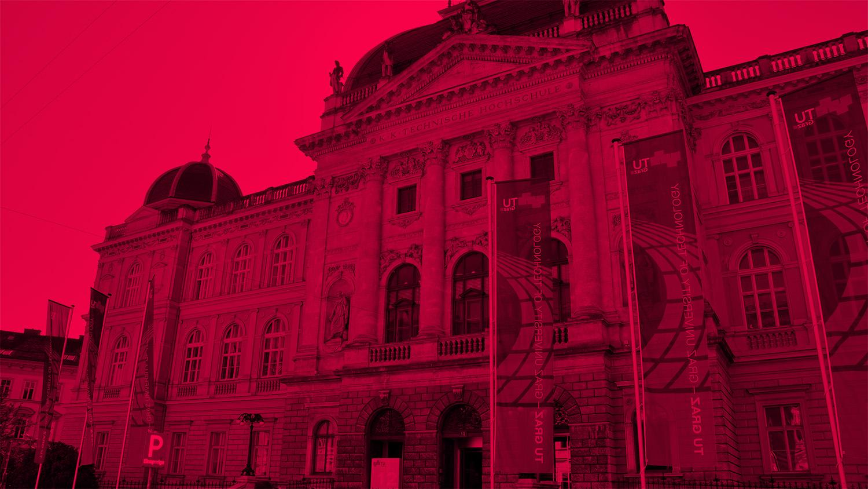 Campus Alte Technik der TU-Graz in rot in der Rechbauerstrasse