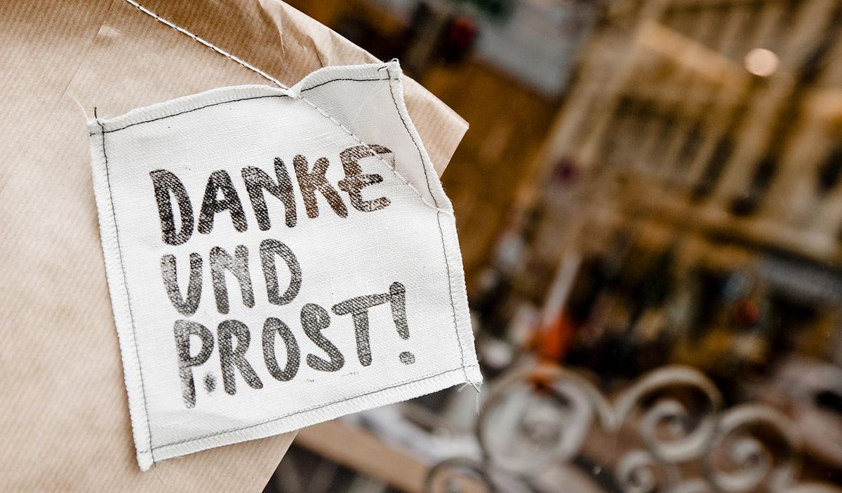 Der Steirer Etikett Danke und Prost