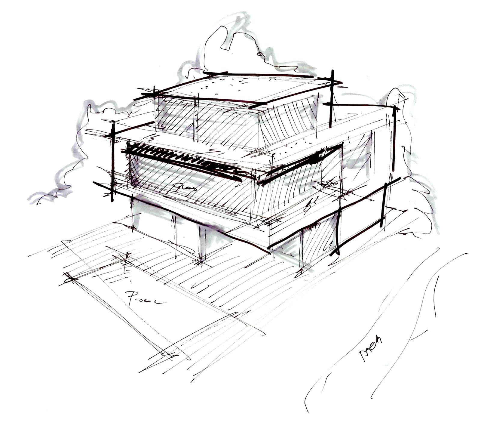 Wunschhaus Skizze händischer Entwurf vom Architekten