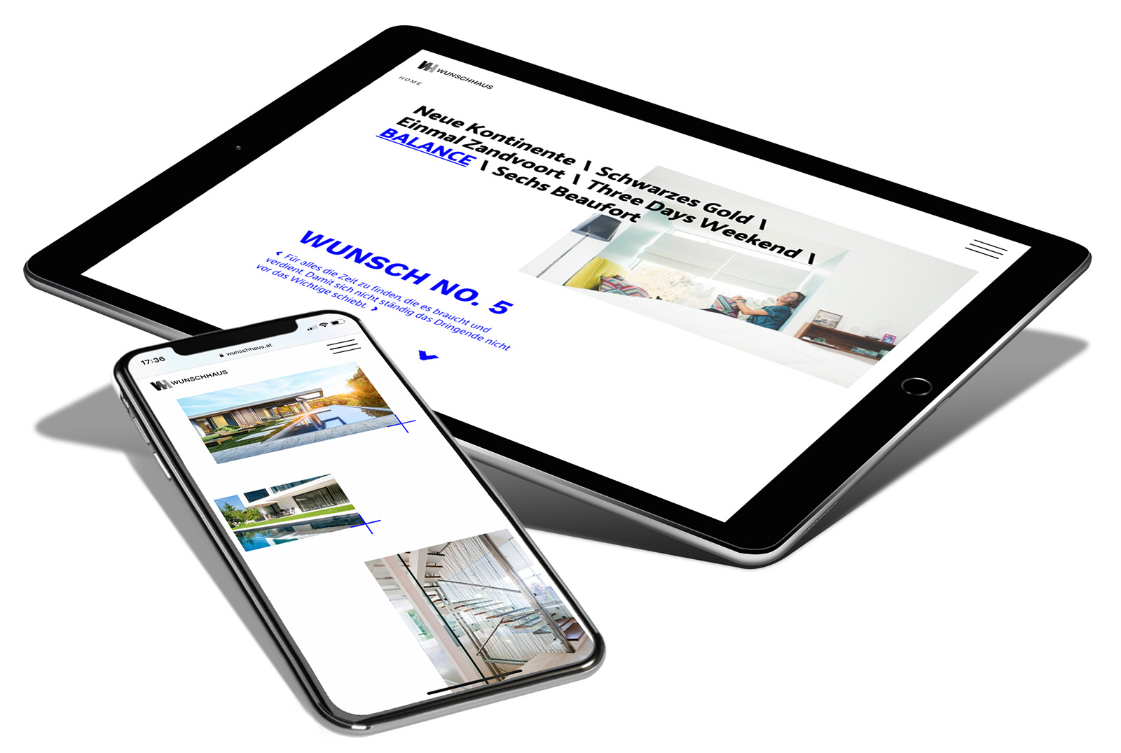 Wunschhaus Website-Screens am Handy und Tablet