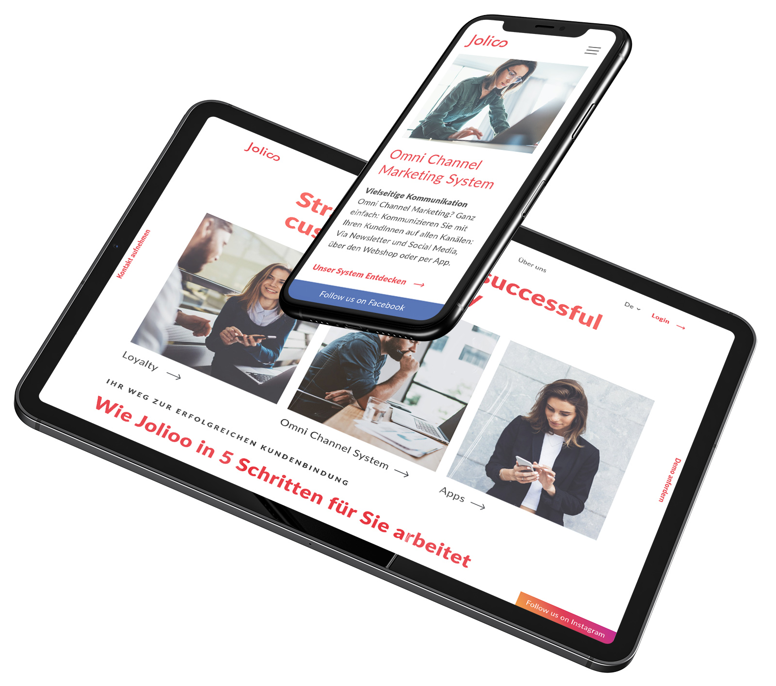 Jolioo Screendesign Mockup auf Handy und Tablet