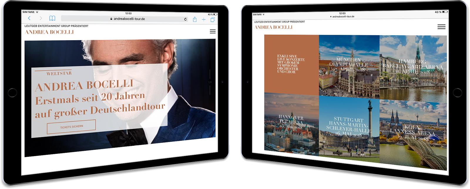 Andrea Bocelli Website-Mockup am Tablet zwei Screens