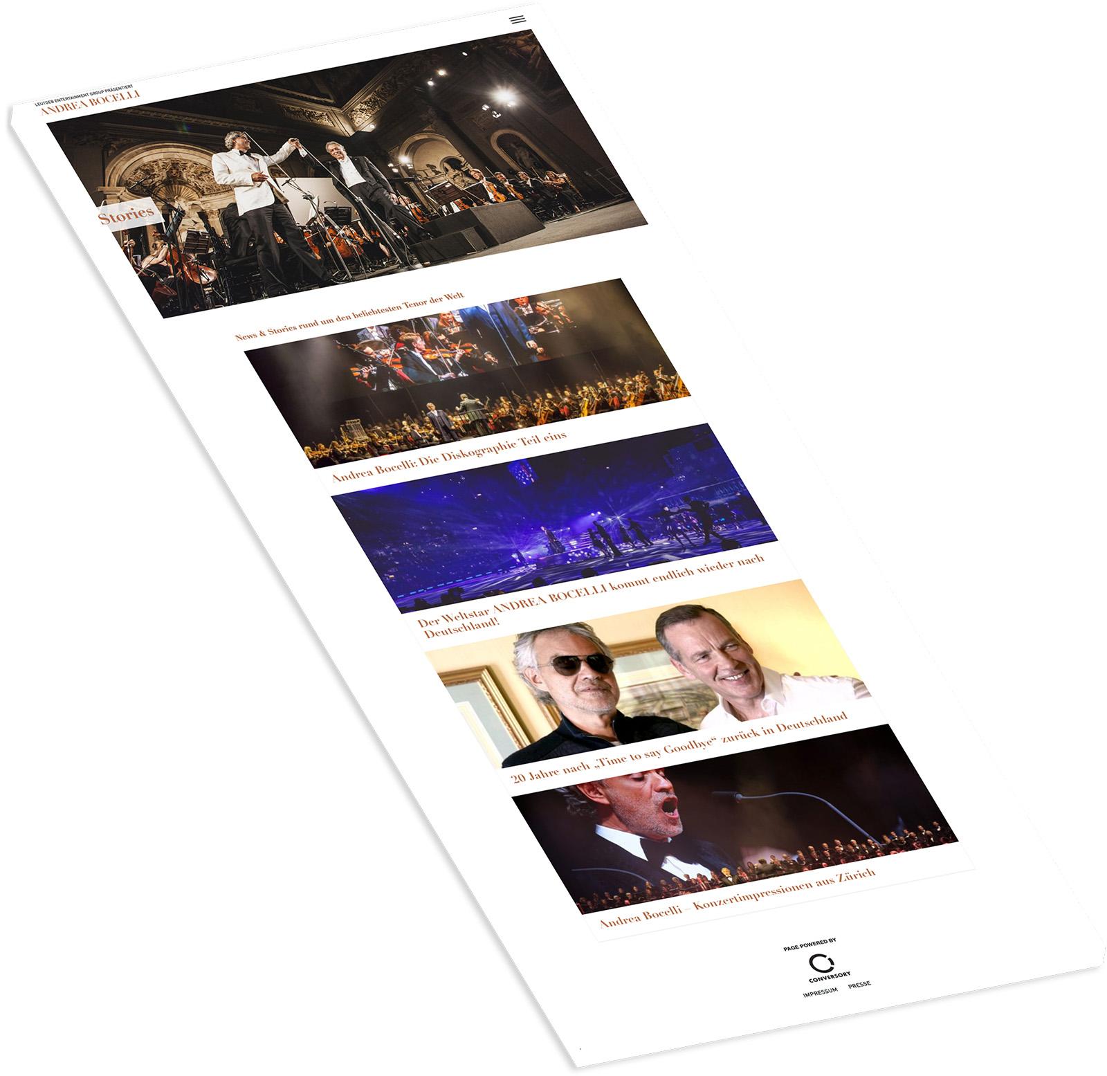 Andrea Bocelli Referenz Website auf weißem Hintergrund mit fünf Bildern