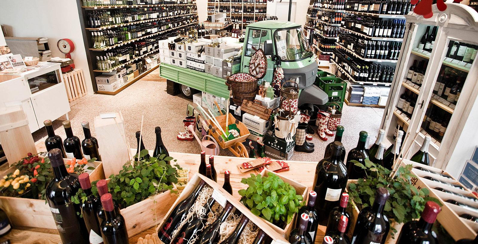 Der Steirer Shop Übersicht mit Wein und Kräutern