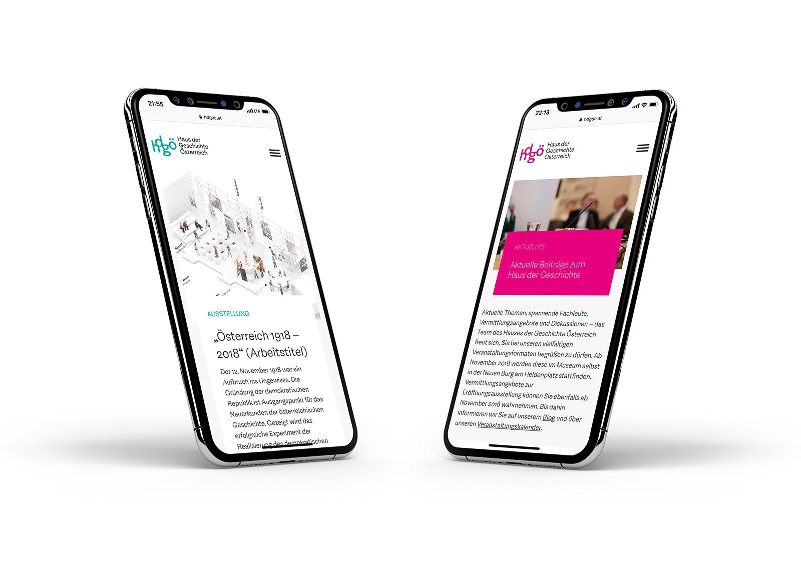Haus der Geschichte Österreich Website-Mockup am Handy