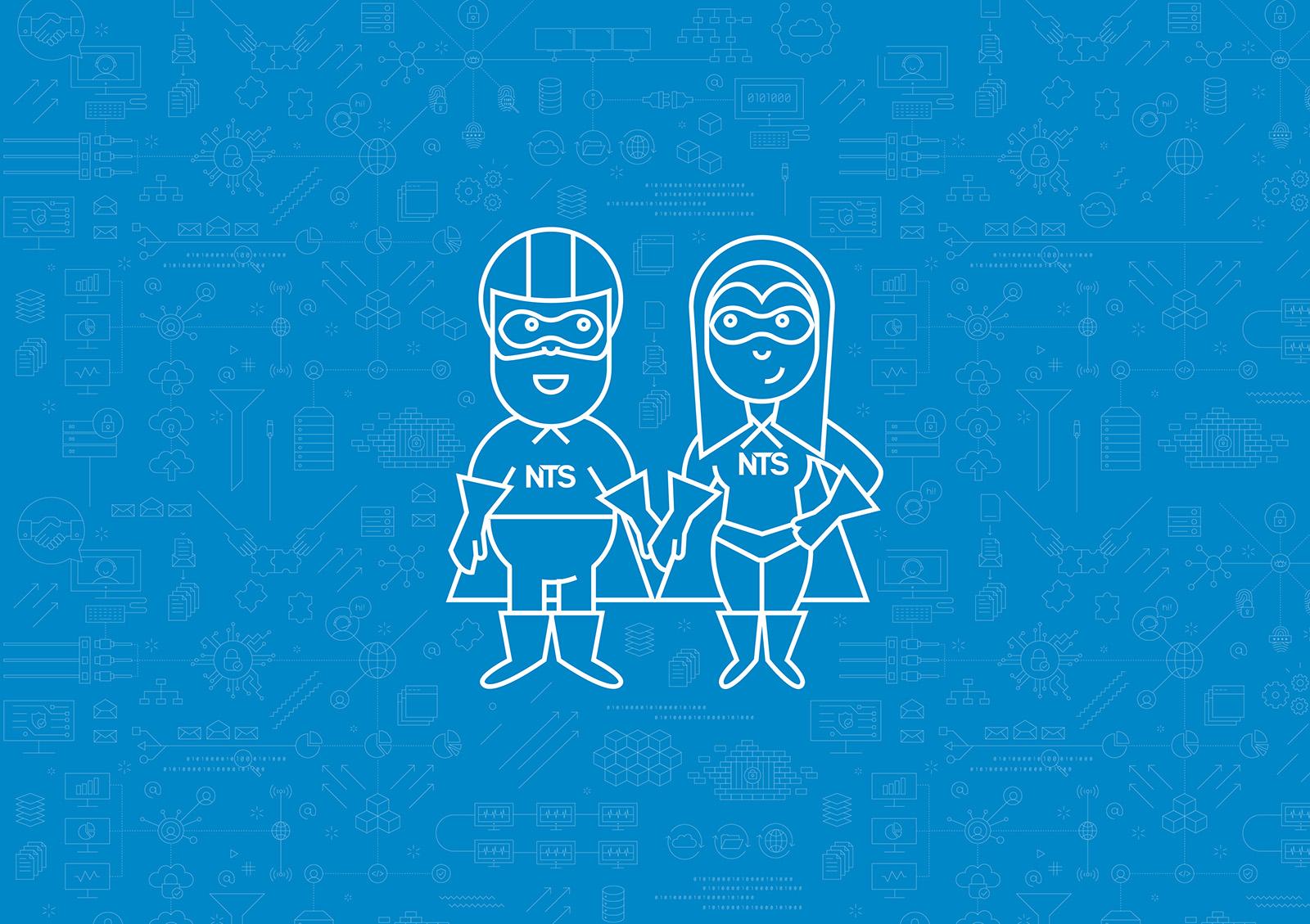 NTS Iconset Hero Mann und Frau in blau und weiß auf Platine