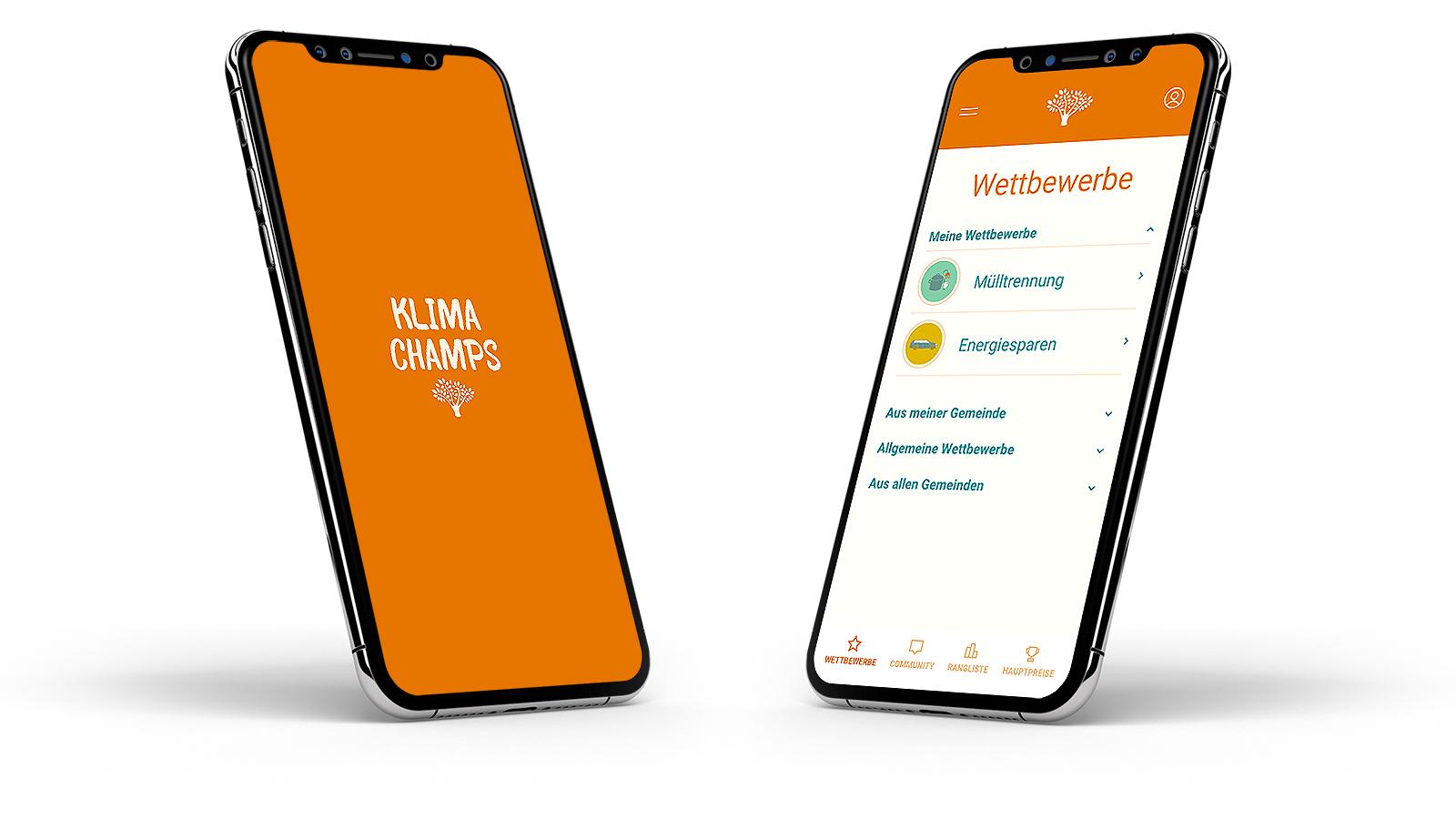 Mockup der Conversory Klima Champs App am Handy