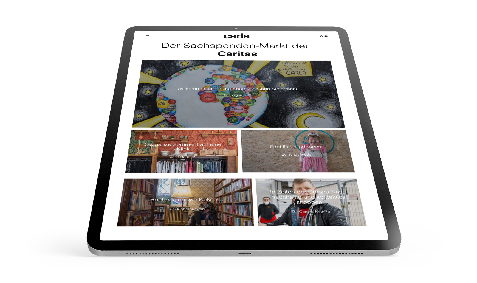 Mobile Screen des neuen Caritas Carla Webshops von Conversory