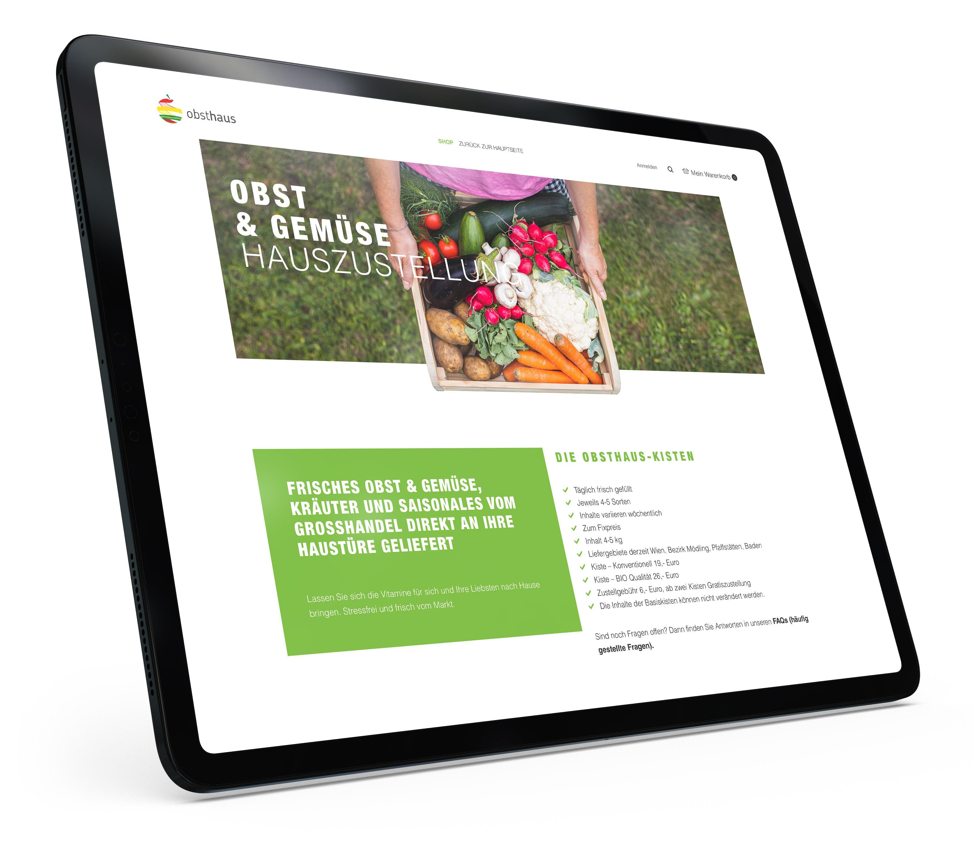 Obsthaus Webshop Mockup am Tablet