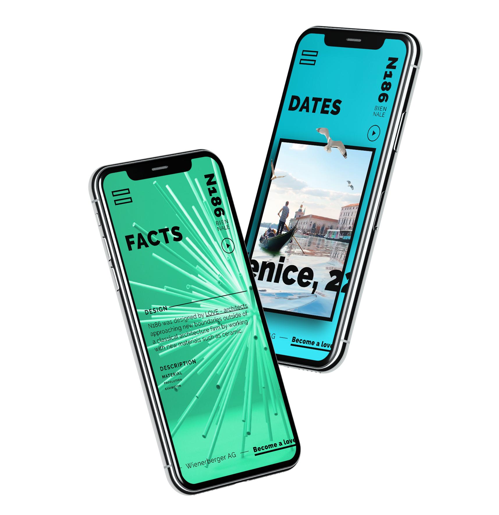 Projekt N186 von LOVE architects als Mockup auf zwei Smartphones
