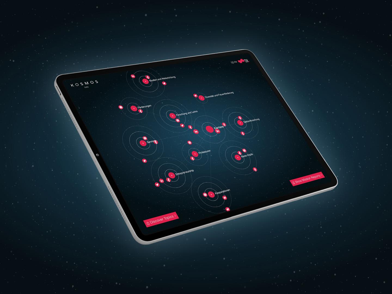 Mockup des TU Graz Social Media Kosmos am Tablet