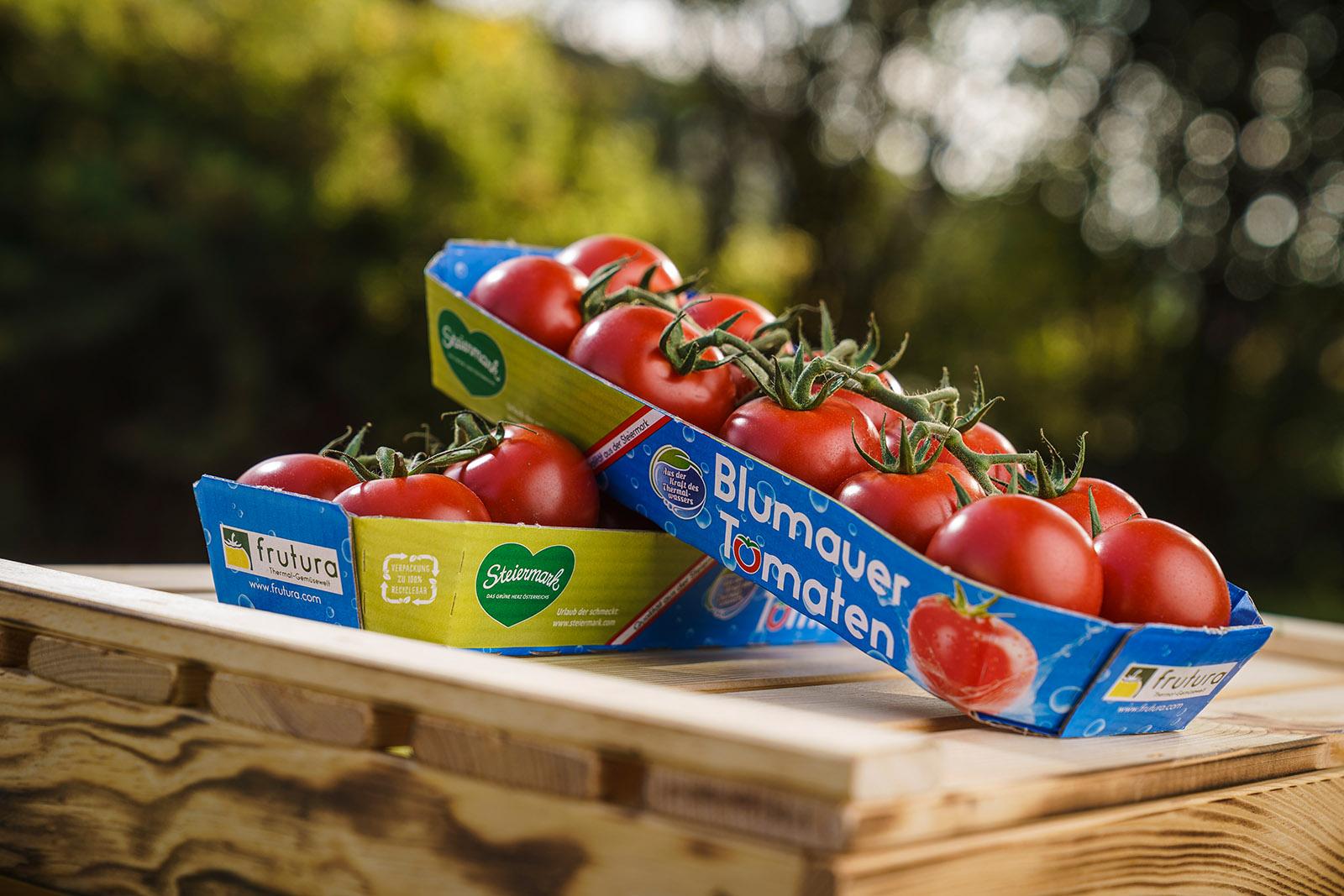 Die Blumauer Tomate, das Flaggschiff der Frutura Produkte in der klassischen nachhaltigen Verpackung