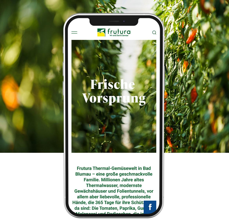 Handy Mockup der neuen Frutura Website von Conversory