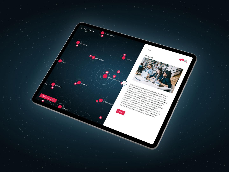 Mockup des TU Graz Social Media Kosmos am Tablet mit geöffnetem Menü